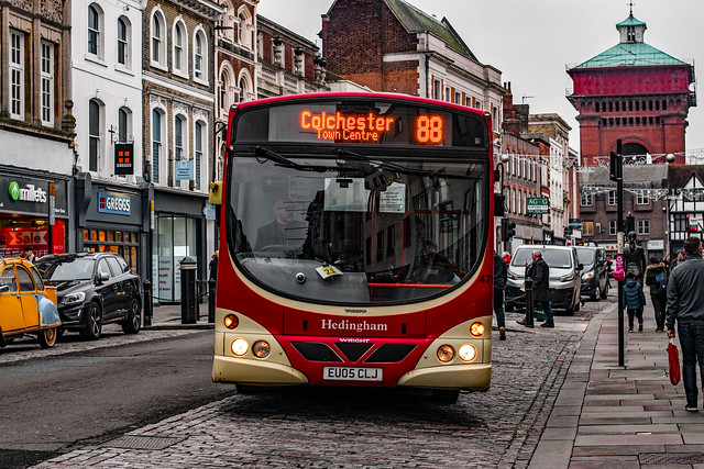 The Halstead to Colchester Route 88 Arrives in the High Street