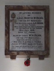 Benn brothers: Died fighting for his country in the Battle of the Somme/Died in action in France