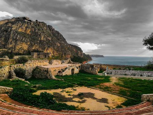 greece landscape ancient sea mountain overcast nafplio akronafplia winter