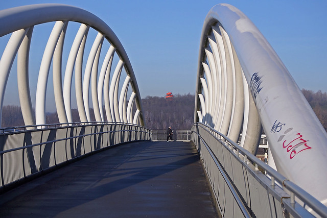 Expensive, but architectural bridge construction over the river Lippe side canal only for walkers and cyclists.
