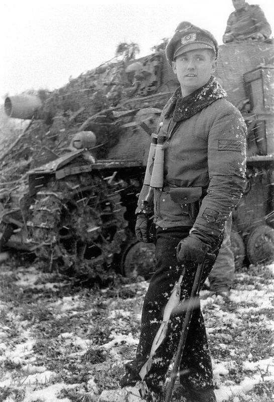 captain-price-official: Major Lenore 217th Assault Tank Battalion (Sturmpanzer-Abteilung 217) with his Brummbar, in the Ardennes, Jan 1945.