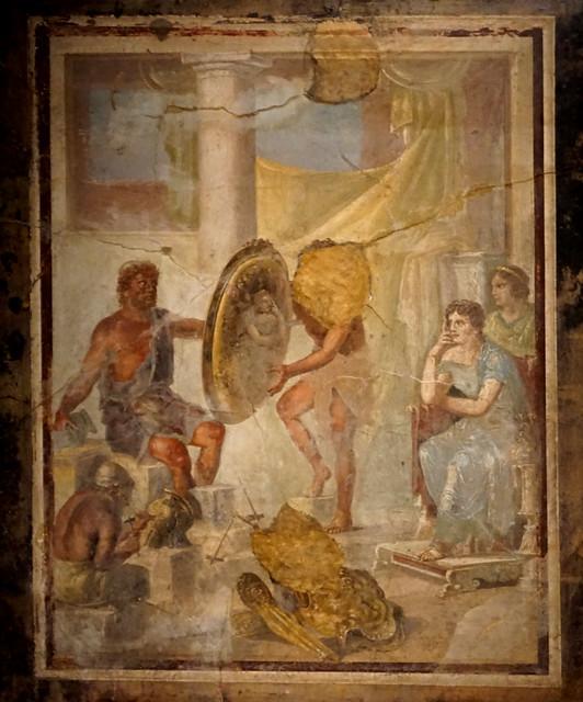 Hefest lliura les armes d'Aquil·les a Tetis / Hephaestus offers Achilles's armour to Thetis
