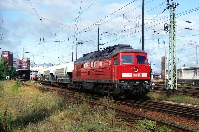 DB Ludmilla 232 105-7 te Cottbus op 22-7-2005 (SCAN)