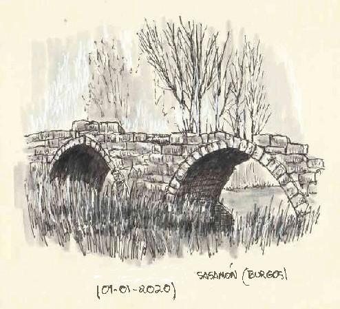 Sasamón (Burgos). Puente medieval.