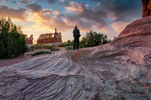 wilbur sunset devilsgarden grandstaircaseescalantenationalmonument clouds silhouettes sandstone geology erosion