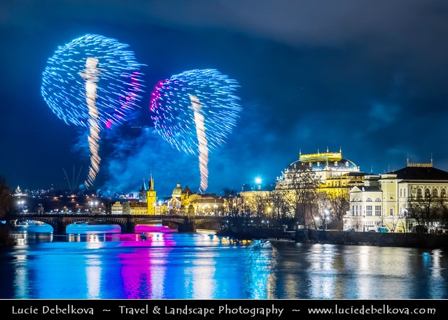 Czech Republic - Prague - New Years Fireworks over Charles bridges and Vltava River