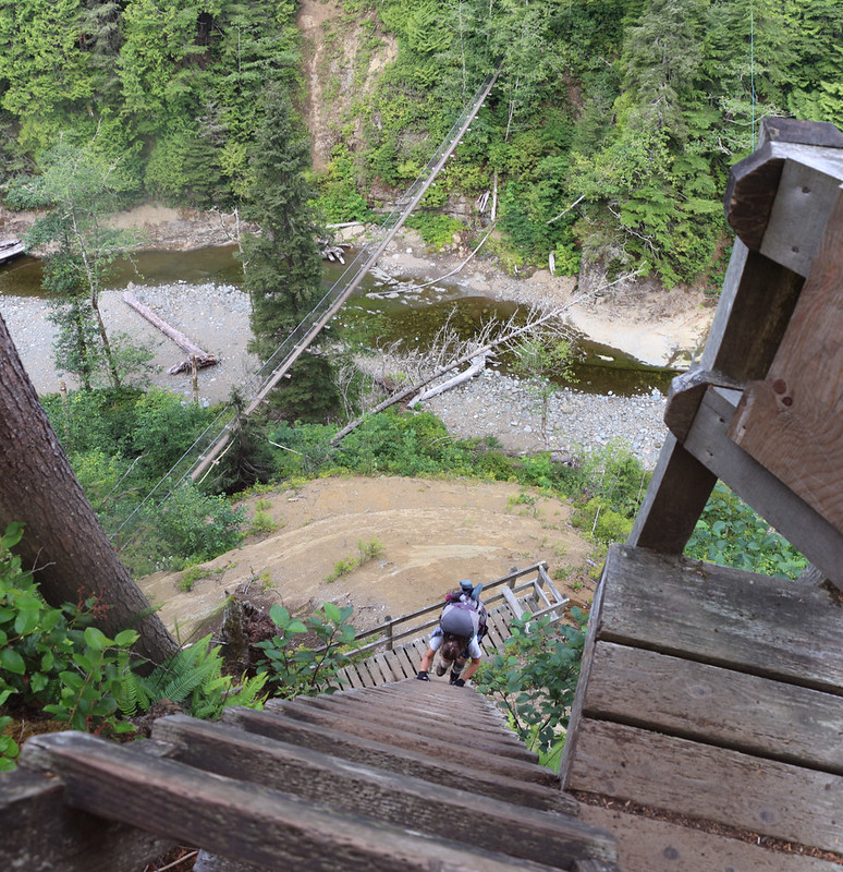 Vicki climbing the steeper ladder above the Logan Creek Suspension Bridge on the West Coast Trail