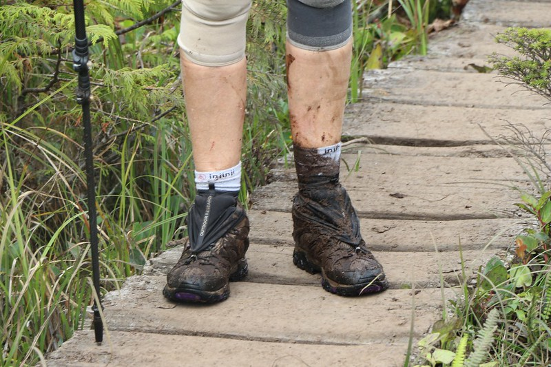 Vicki missed her footing in a boggy section and sank into the stinky mud