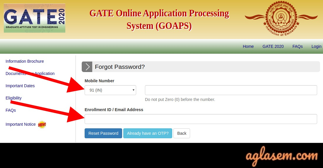 Forgot GATE 2021 Password