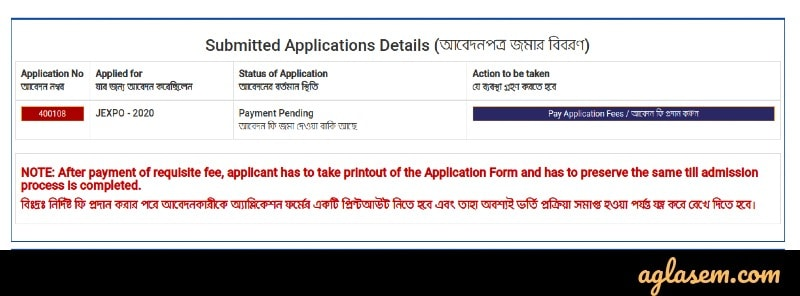 JEXPO VOCLET application fee