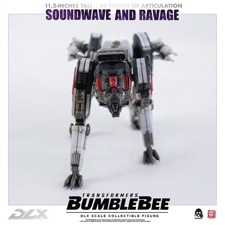 可再現音波從胸口發射戰犬的帥氣場面! threezero DLX收藏級系列《大黃蜂》音波&戰犬 Soundwave and Ravage 11 吋可動人偶