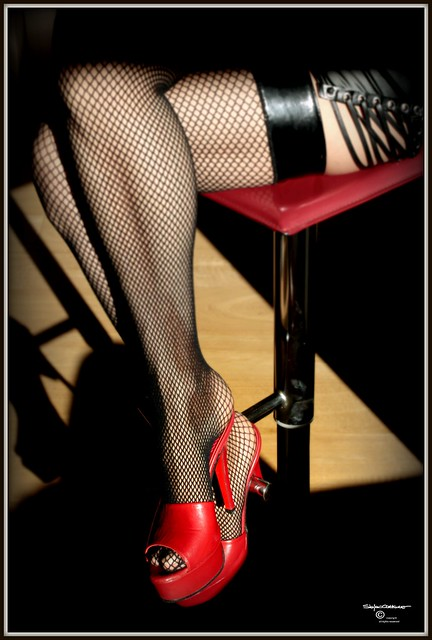 Red Mules & Fishnet