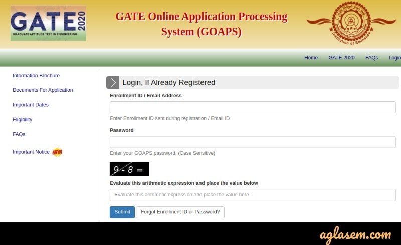 GATE 2020 GOAPS Login