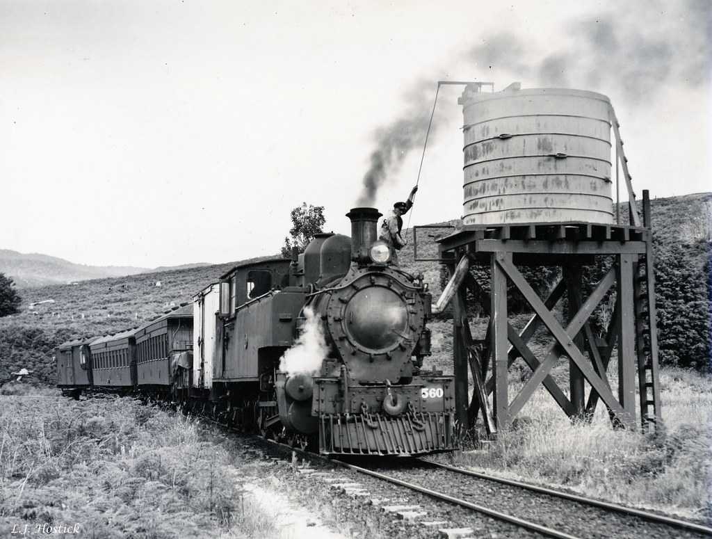 Donnellys Crossing Train between Whataro and Aranga taken during the holiday time hence the lack of goods a L.J. Hostick photo