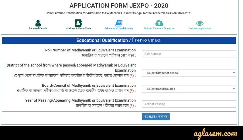 WBSCTE JEXPO VOCLET form filling
