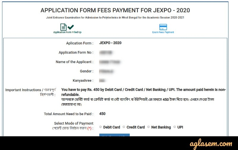 JEXPO VOCLET application fee payment