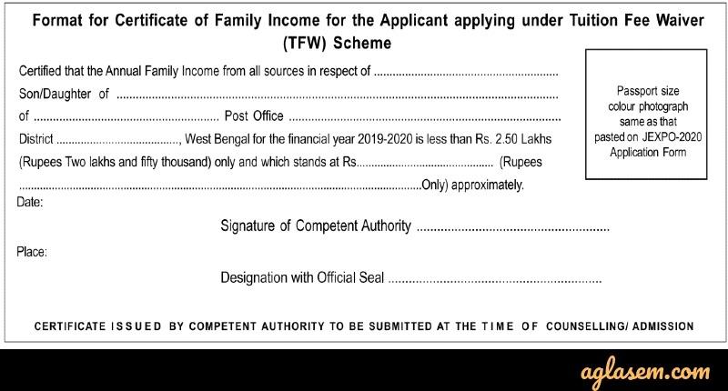 Annual Family Income Certificate