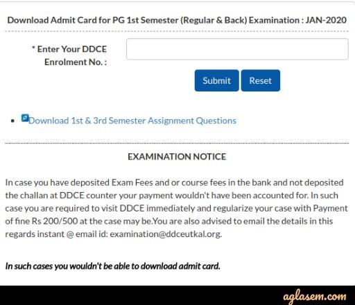 Utkal University DDCE Admit Card 2020