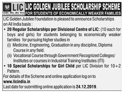 LIC Scholarship Notification