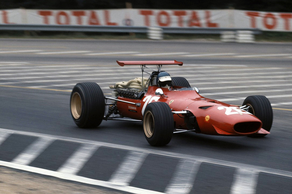 1968 ferrari_312_f1-68_Jacky Ickx, French GP (54e Grand Prix de France), Rouen les Essarts, 07 July 1968, Winner