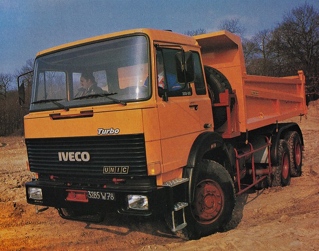 Postcard Iveco - Unic 330-30 6x4 Benne Marrel Collection Camion Magazine Mars 1986a