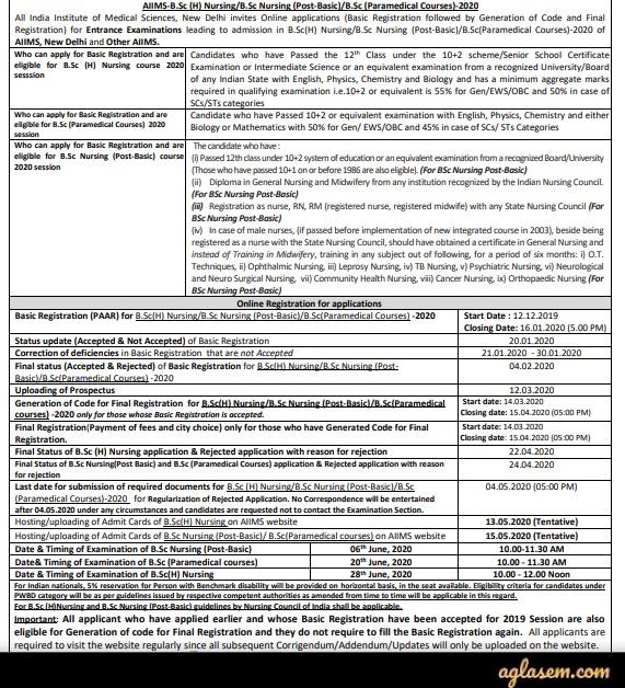 AIIMS B.Sc Nursing 2020 Notification