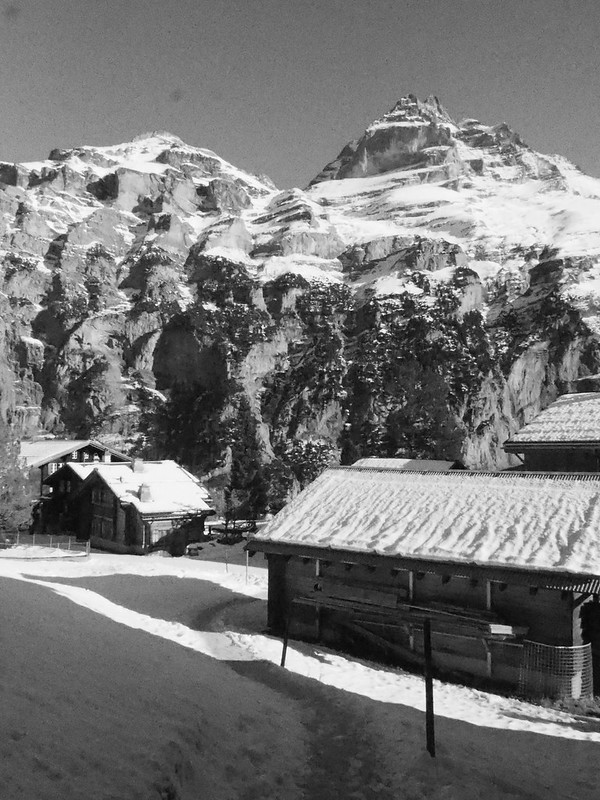 Historic Jungfrau mountain at accidental ISO25600 (b/w)