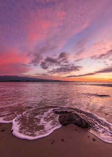 california landscape nature santabarbara ucsb winter sunrise ocean beach wave surf clouds pink