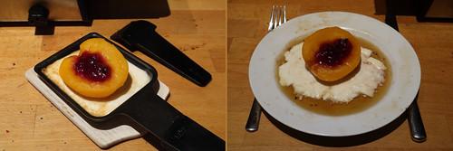 Raclette 12: Pfirsich mit Preiselbeern in Honig-Weinbrand-Schmand