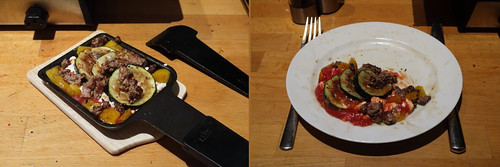 Raclette 9: Zucchini-Paprika-Hack-Pfanne