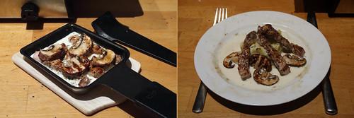 Raclette 8: Schnitzel mit Jägersoße