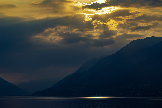Beautiful sunrise over Lake Maggiore