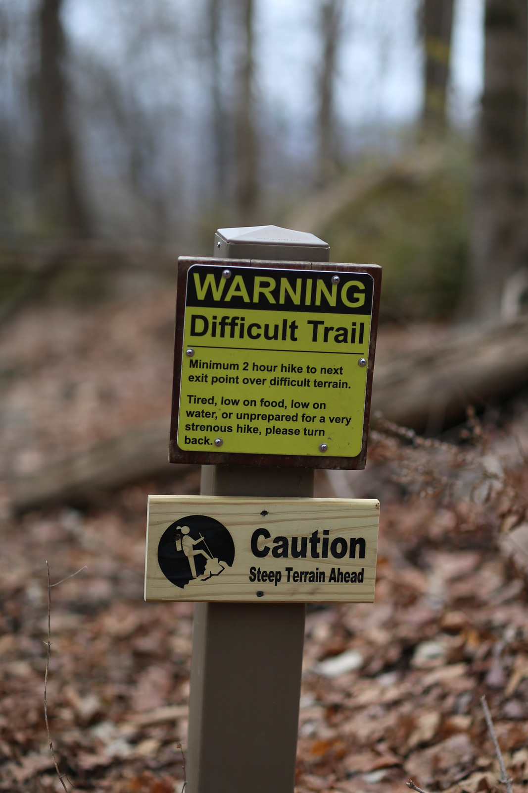 Tired, low on food, low on water, or unprepared for a very strenuous hike, please turn back.
