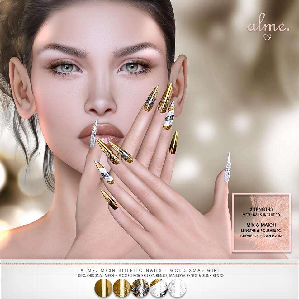 """Alme NEW Group Gift – """"Alme Mesh Stiletto nails//Gold Xmas Gift"""" ♥"""