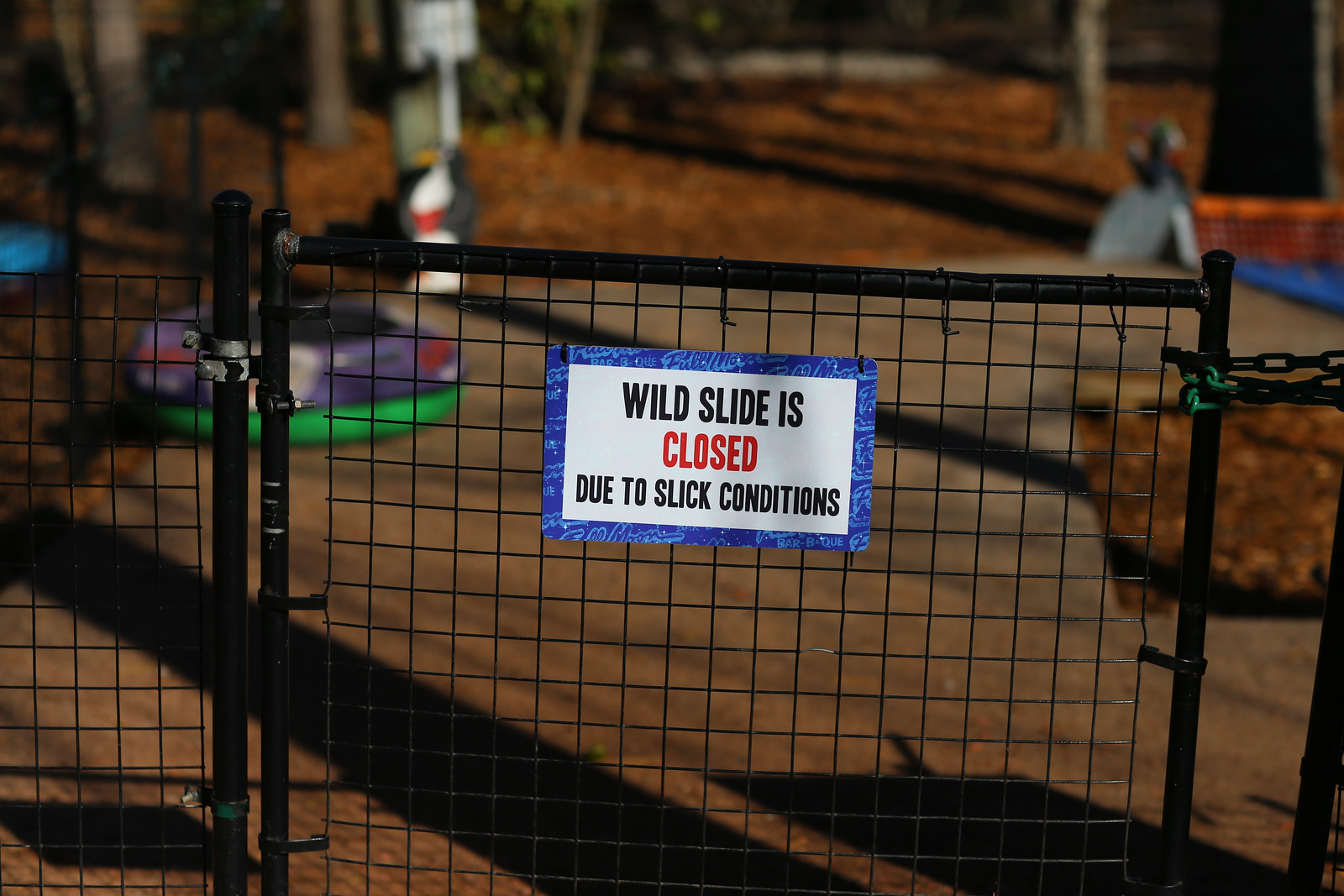 wild slide is closed due to slick conditions