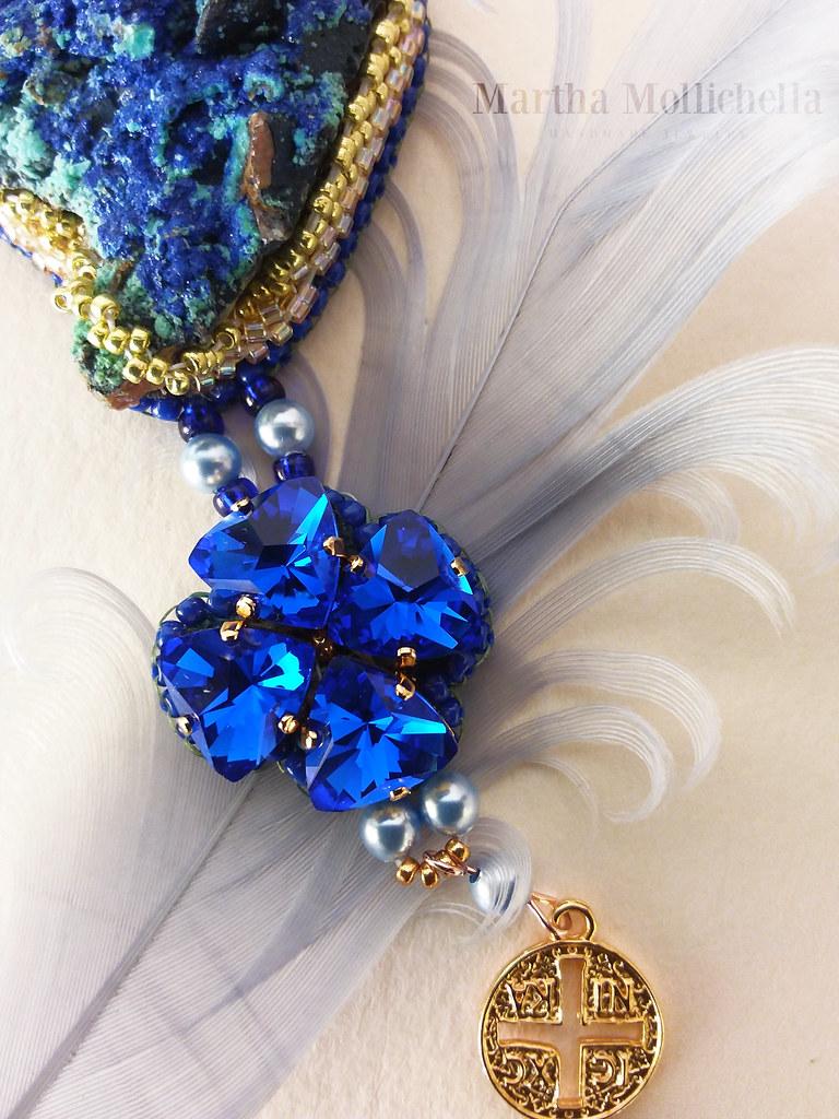 Marànathà: Azzurrite - Malachite, cristalli e perle Swarovski. Cucito a mano con tanto amore