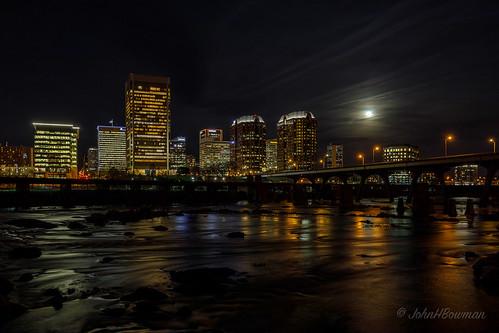 bridges virginia richmond nightshots jamesriver canon16354l skylines riversandstreams reflections january starbursts 2017 railroadtrestles january2017