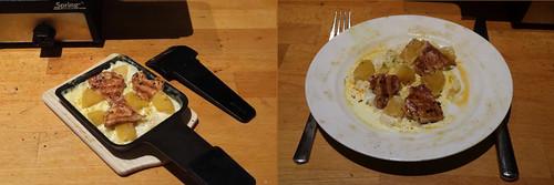 Raclette 18: Hähnchen mit Ananas in Currysoße