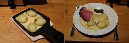 Raclette 17: Pellkartoffeln auf Raclettekäse zu geräuchertem Schinken und Cornichon
