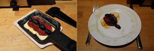 Raclette 16: Schwarze Oliven und Salami auf Raclettekäse
