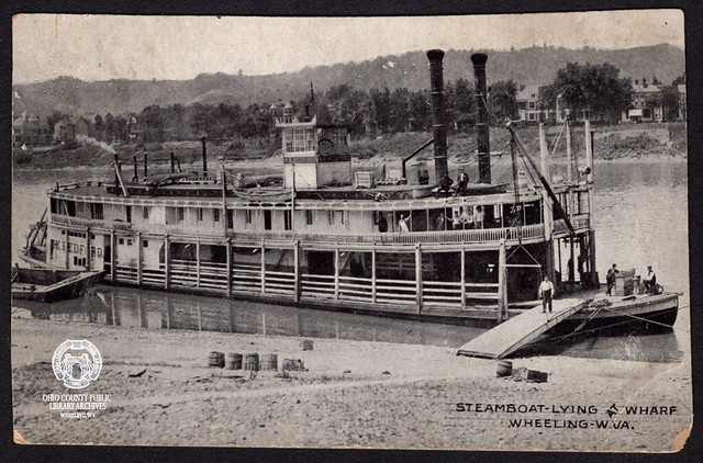 Postcard: Steamboat Lying at Wharf, Wheeling, W. Va.