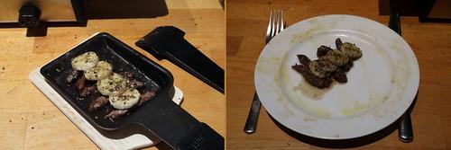 Raclette 19: Rindfleisch mit Bananen, Honig und Pfeffer