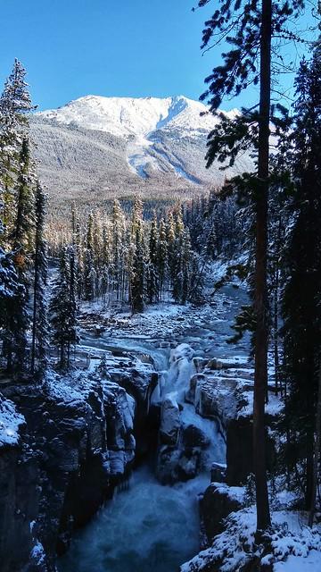 Partially frozen waterfall in Jasper