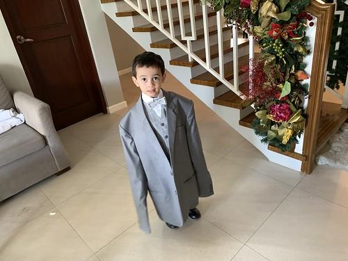 Ezra Tries on my Suit