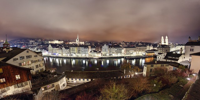 Zurich on a foggy and cold winter night