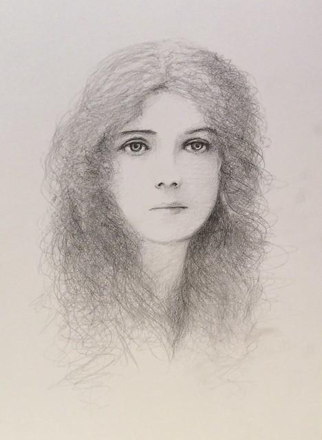 Portrait . Black pencil drawing on card by jmsw.