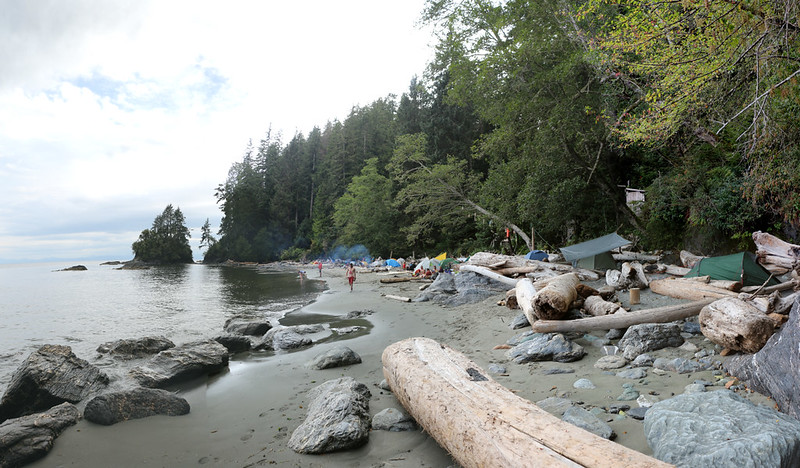 The Thrasher Cove Campsite on the West Coast Trail - our tent is the one with the tarp over it
