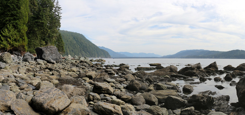 Port San Juan and Port Renfrew from the West Coast Trail on the shore near Thrasher Cove