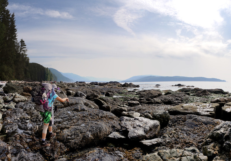 We leave the flats and begin the long, careful hike to Camper Bay over large boulders
