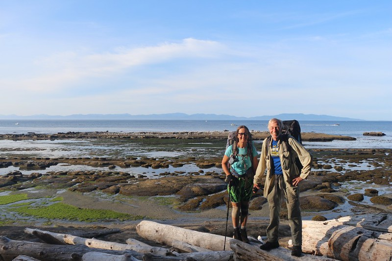 Vicki and I at Beach Access A east of Camper Bay, as we begin the fun hike toward Owen Point